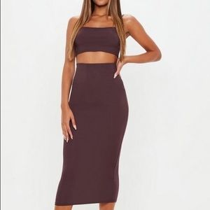 NEW 4 S Plum Ribbed 2 Pc Bodycon Set Skirt Top